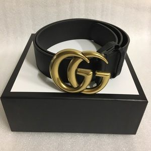 Gucci Double G Buckle Black Leather Belt 💫